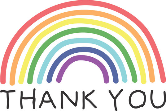 Thank you text and drawn rainbow. Key workers support. Banner, sign, poster, background, wrapping, gifts, scrapbooking. Vector illustration.