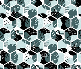 Tropical pattern - seamless geometric design - memphis style elements