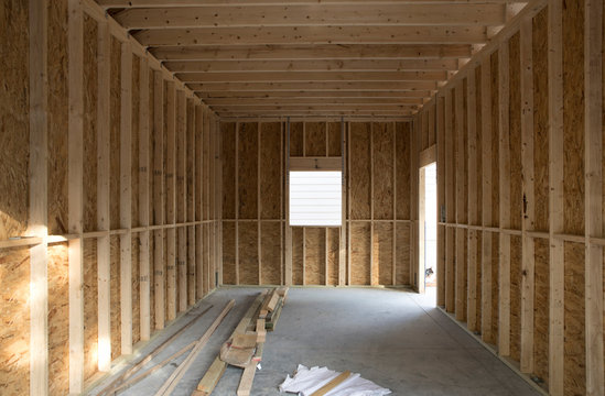 Interior shot of construction project to build new garage or room.