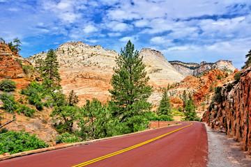 Fototapete - Scenic drive through Zion National Park along Highway 9, Utah, USA
