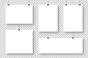 Realistic blank paper sheets hanging on binder clip. White poster with shadow in A4 format. Design template, mockup. Vector illustration.