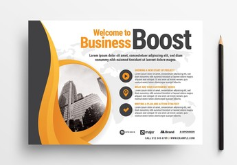 Business Flyer Layout with Abstract Elements