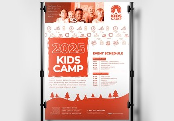 Kids Camp Poster Banner with Camping Icons