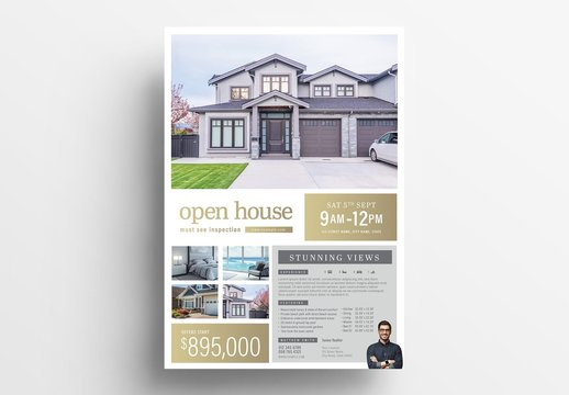 Real Estate Flyer Layout with Property Details