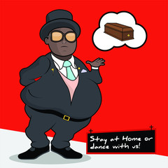 """Pallbearer fat black man with sunglasses. Coffin dancers at funeral. Flat Illustration - Meme """"Stay at home or dance with us"""""""