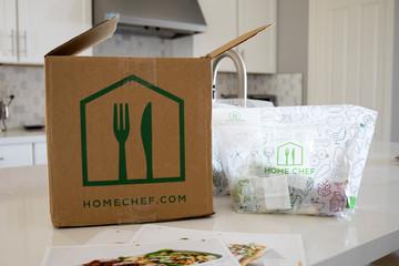 Phoenix, Arizona, April 22, 2020: A Home Chef Delivery Box on a Kitchen  Counter