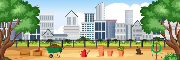 Garden Poster Green Background scene with buildings and city park