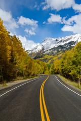 Keuken foto achterwand Weg in bos Road winding through trees in Fall in Colorado