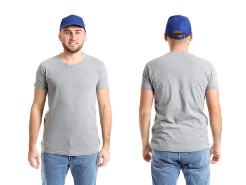 Handsome man in stylish cap on white background. Front and back view