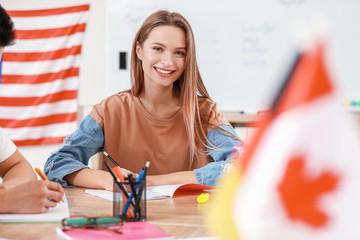 Woman taking classes at language school