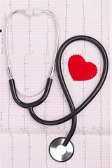 heart symbol with a stethoscope on a cardiogram