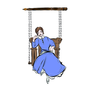 Woman writer. Lady in vintage style writes book while sitting on swing.