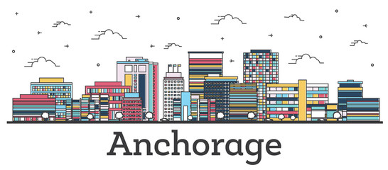 Wall Mural - Outline Anchorage Alaska City Skyline with Color Buildings Isolated on White.