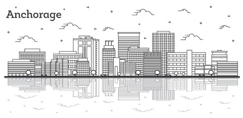 Wall Mural - Outline Anchorage Alaska City Skyline with Modern Buildings and Reflections Isolated on White.