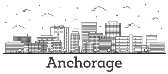 Wall Mural - Outline Anchorage Alaska City Skyline with Modern Buildings Isolated on White.