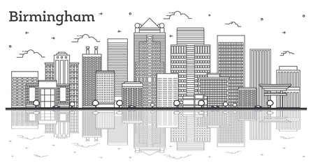 Wall Mural - Outline Birmingham Alabama City Skyline with Modern Buildings and Reflections Isolated on White.