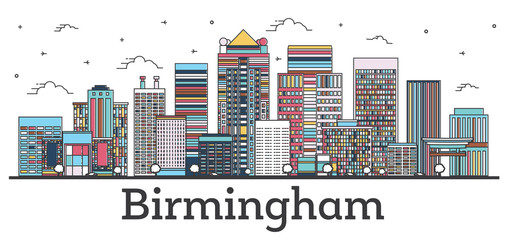 Wall Mural - Outline Birmingham Alabama City Skyline with Color Buildings Isolated on White.