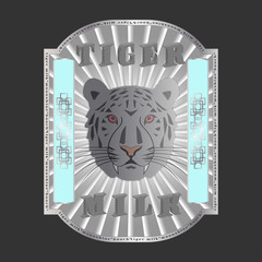 Label with muzzle of animal, 3d inscription, tiger milk and small print written words moonshine