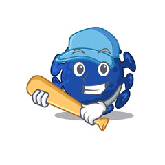 Picture of streptococcus cartoon character playing baseball