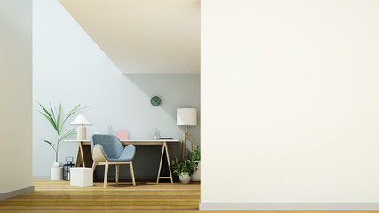 Wall Mural - The interior home minimal work space 3d rendering