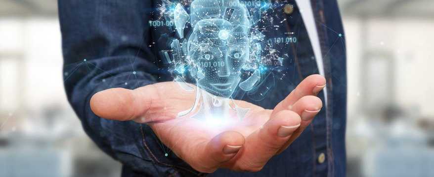 Man using digital artificial intelligence holographic projection 3D rendering
