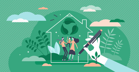 Green home vector illustration. Ecological house flat tiny persons concept.