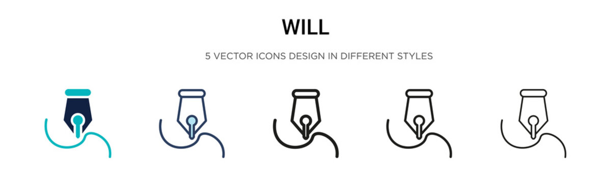 Will icon in filled, thin line, outline and stroke style. Vector illustration of two colored and black will vector icons designs can be used for mobile, ui, web