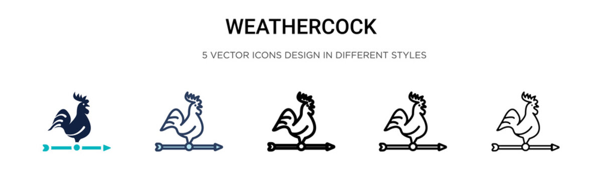Weathercock icon in filled, thin line, outline and stroke style. Vector illustration of two colored and black weathercock vector icons designs can be used for mobile, ui, web