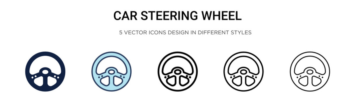 Car steering wheel icon in filled, thin line, outline and stroke style. Vector illustration of two colored and black car steering wheel vector icons designs can be used for mobile, ui, web