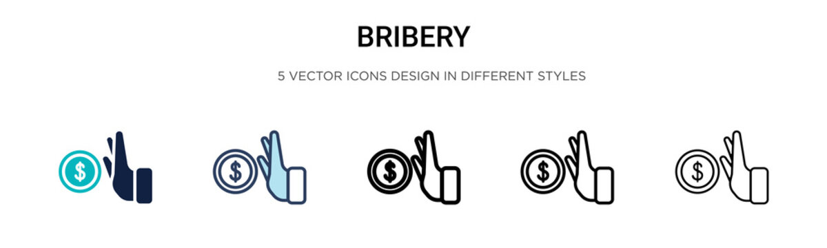 Bribery icon in filled, thin line, outline and stroke style. Vector illustration of two colored and black bribery vector icons designs can be used for mobile, ui, web