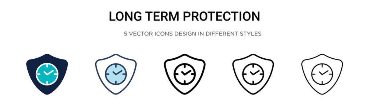 Long term protection icon in filled, thin line, outline and stroke style. Vector illustration of two colored and black long term protection vector icons designs can be used for mobile, ui, web