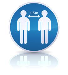 Panneau d'obligation de distanciation sociale de 1,5 mètres (reflet)
