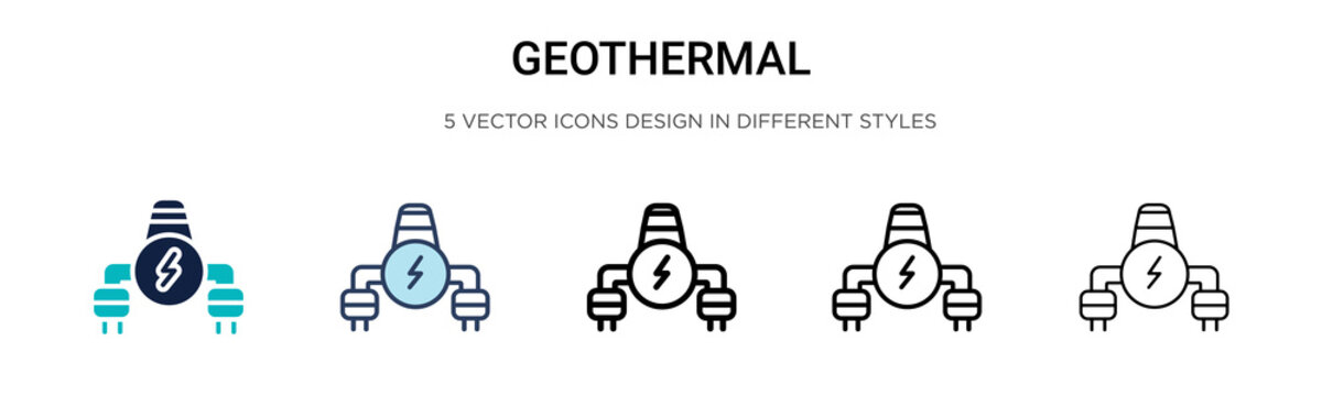 Geothermal icon in filled, thin line, outline and stroke style. Vector illustration of two colored and black geothermal vector icons designs can be used for mobile, ui, web
