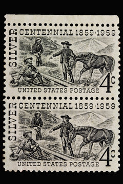 United States Postage Stamps - SILVER CENTENNIAL 1859 - 1959. Issued to commemorate the 100th anniversary of the Comstock Lode in Nevada. Western Mining History.