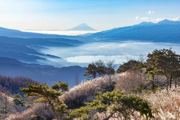 Wall Mural - 高ボッチ高原から望む富士山と諏訪湖、長野県岡谷市にて