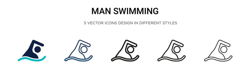 Man swimming icon in filled, thin line, outline and stroke style. Vector illustration of two colored and black man swimming vector icons designs can be used for mobile, ui, web