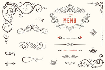 Vector set of ornate calligraphic vintage elements, dividers and page decorations.