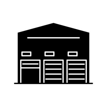 Self storage unit black glyph icon