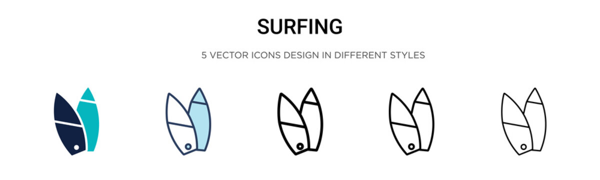 Surfing sign icon in filled, thin line, outline and stroke style. Vector illustration of two colored and black surfing sign vector icons designs can be used for mobile, ui, web