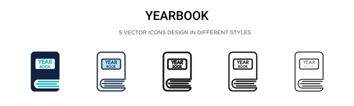 Yearbook icon in filled, thin line, outline and stroke style. Vector illustration of two colored and black yearbook vector icons designs can be used for mobile, ui, web