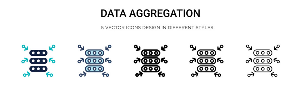 Data aggregation icon in filled, thin line, outline and stroke style. Vector illustration of two colored and black data aggregation vector icons designs can be used for mobile, ui, web