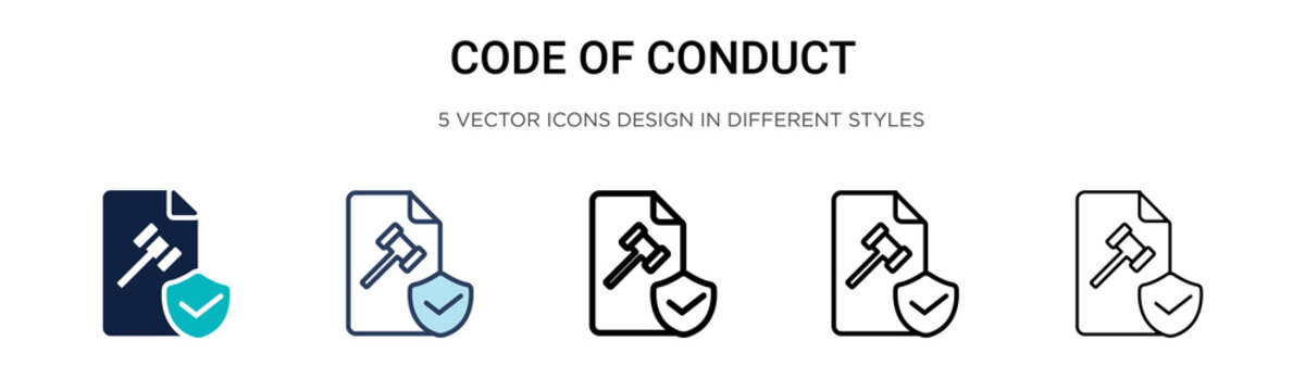 Code of conduct icon in filled, thin line, outline and stroke style. Vector illustration of two colored and black code of conduct vector icons designs can be used for mobile, ui, web