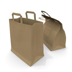 Two takeaway bags. Paper bag. Meal. 3D rendering
