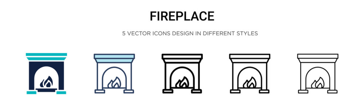 Fireplace icon in filled, thin line, outline and stroke style. Vector illustration of two colored and black fireplace vector icons designs can be used for mobile, ui, web