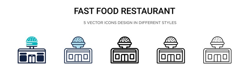 Fast food restaurant icon in filled, thin line, outline and stroke style. Vector illustration of two colored and black fast food restaurant vector icons designs can be used for mobile, ui, web Wall mural