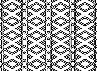 Fotorolgordijn Geometrisch Abstract geometric pattern. A seamless vector background. White and black ornament. Graphic modern pattern. Simple lattice graphic design