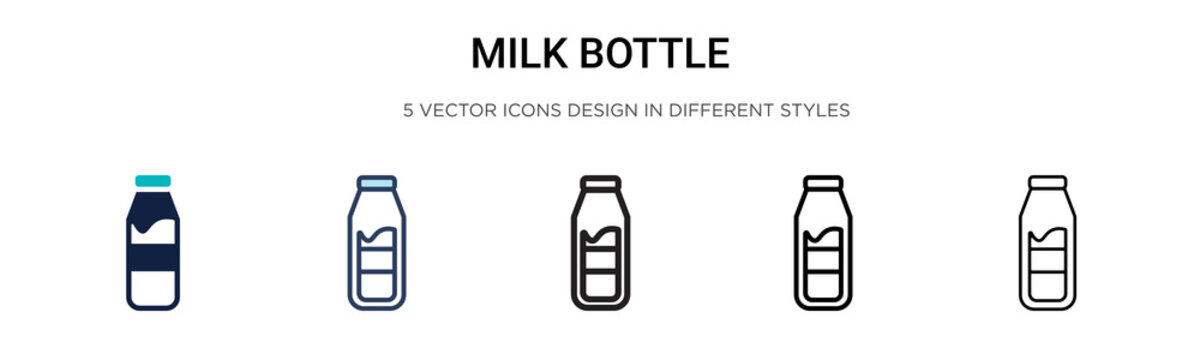 Milk bottle icon in filled, thin line, outline and stroke style. Vector illustration of two colored and black milk bottle vector icons designs can be used for mobile, ui, web