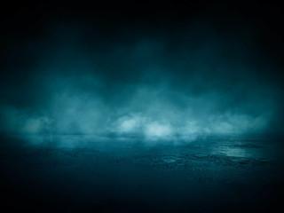 Fotomurales - Dark street, wet asphalt, reflections of rays in the water. Abstract dark blue background, smoke, smog. Empty dark scene, neon light, spotlights. Concrete floor