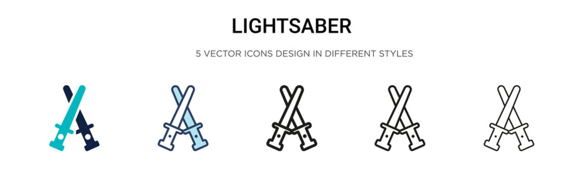 Lightsaber icon in filled, thin line, outline and stroke style. Vector illustration of two colored and black lightsaber vector icons designs can be used for mobile, ui, web