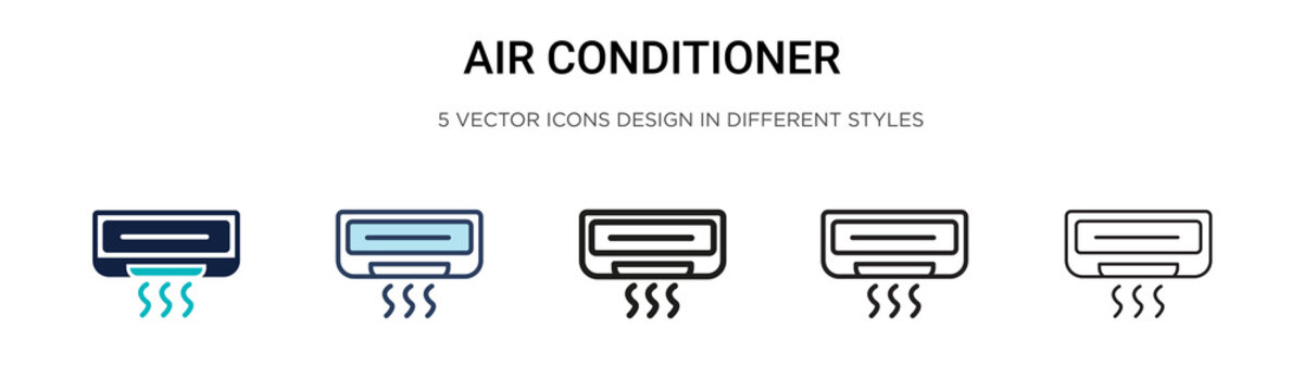 Air conditioner icon in filled, thin line, outline and stroke style. Vector illustration of two colored and black air conditioner vector icons designs can be used for mobile, ui, web